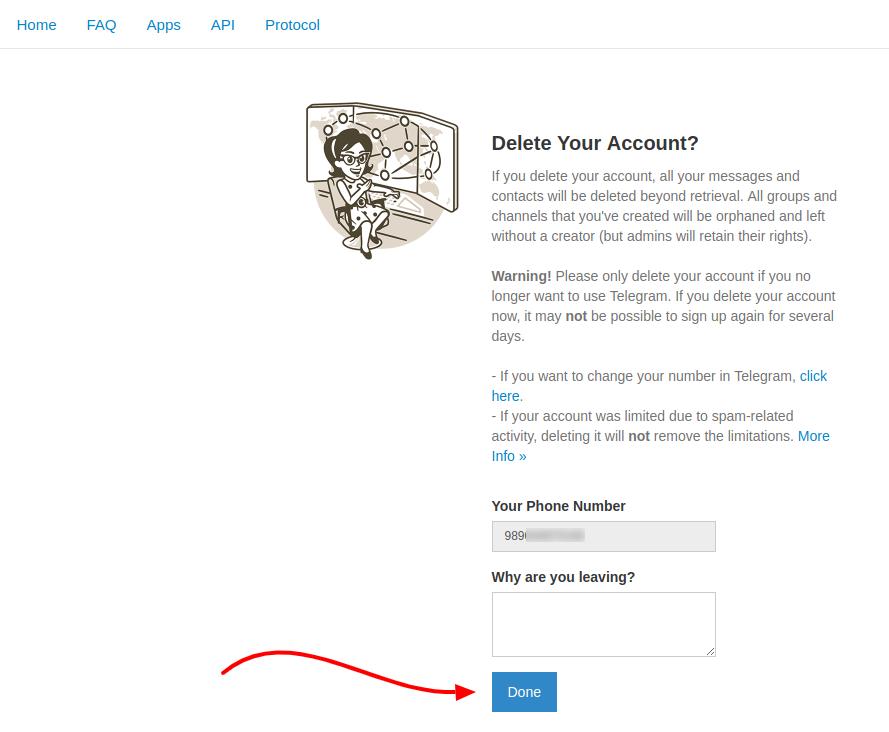 آموزش دیلیت اکانت تلگرام و نحوه delete account telegram